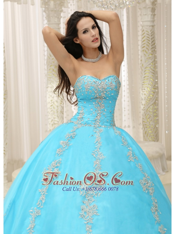 Aqua Blue Sweetheart Appliques and Beaded Decorate For 2013 Quinceanera Dress