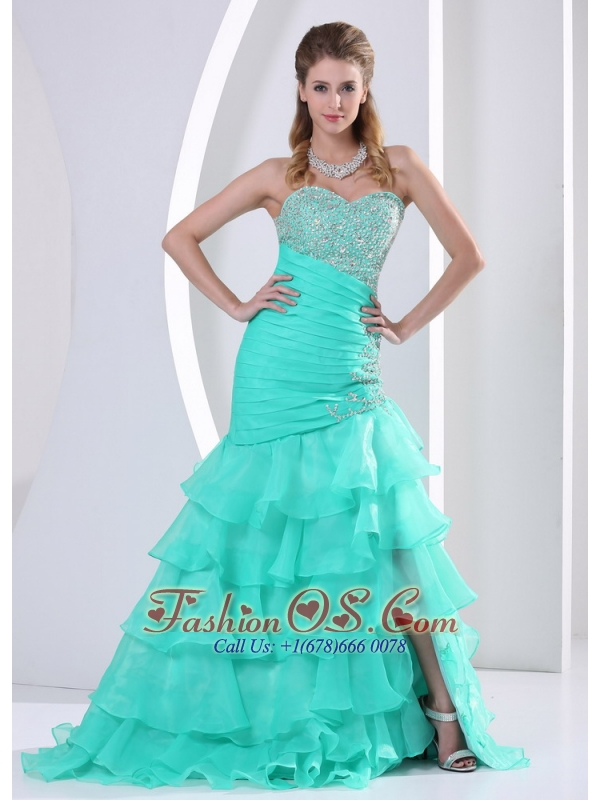 Turquoise Ruched Layered Beaded Decorate and Ruch Bodice Sweetheart Celebrity Dress