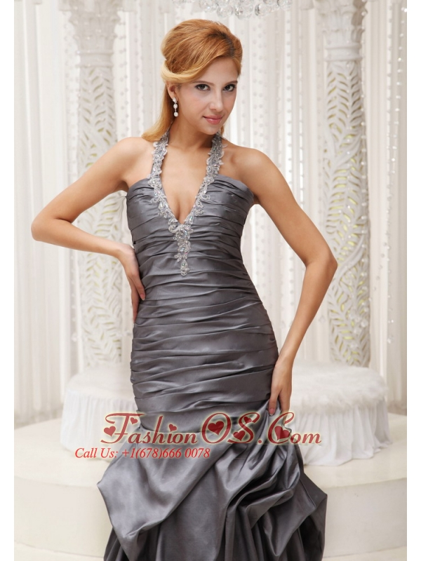 Beaded Decorate Halter Grey Column Mother Of The Bride Dress For 2013 Ruched Bodice Floor-length Taffeta
