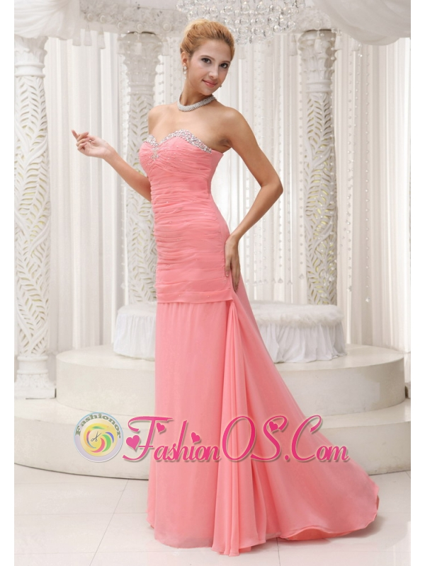Beaded Decorate Sweetheart Neckline Watermelon Red Custom Made Mother Of The Bride Dress For 2013
