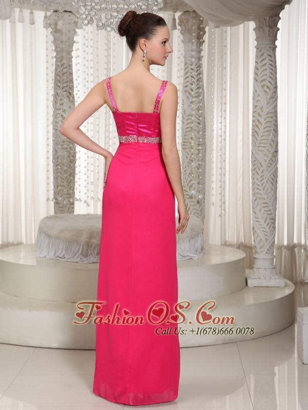 Beaded In Coral Red Chiffon Spaghetti Straps Beautiful Empire Mother Of The Bride Dress