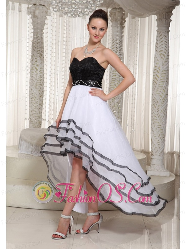 Black and White Organza High-low Sweetheart Homecoming Dress Belt Beading Decorate