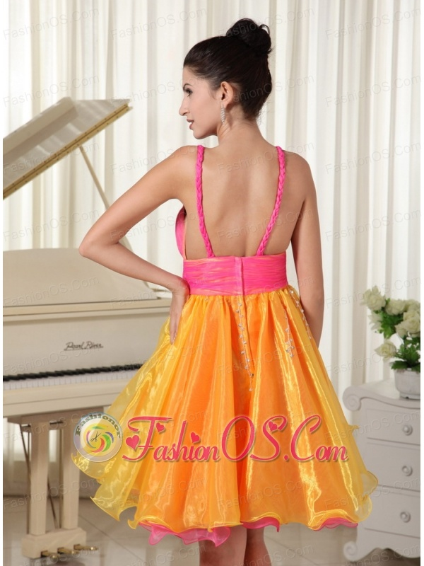 Colorful Princess Prom Dress Custom Made Straps Beaded Decorate Waist Organza