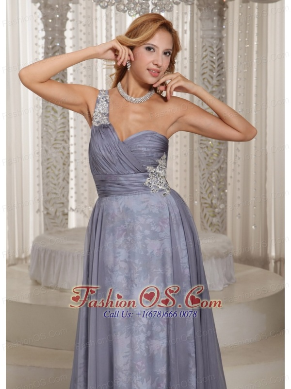 Custom Made Gray One Shoulder Ruched Bodice and Appliques Mother Of The Bride Dress