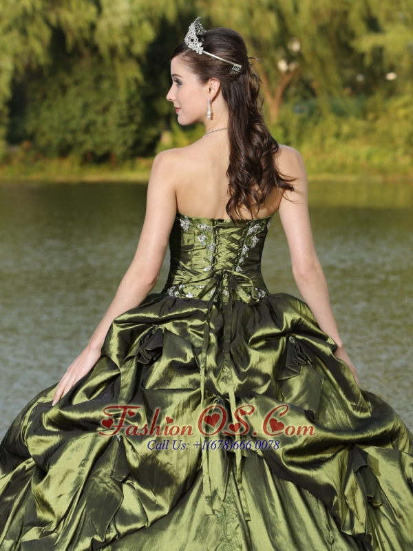 Custom Size Strapless Quinceanera Dress Beaded Decorate With Olive Green