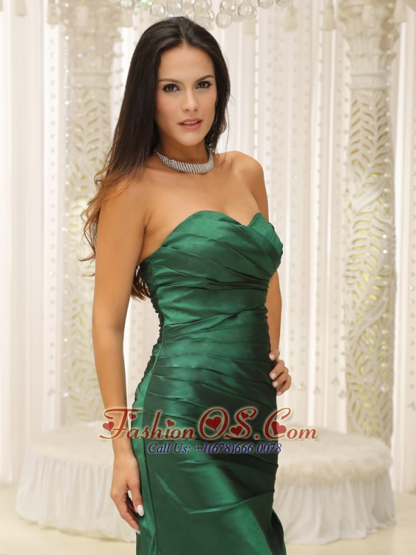 Dark Green Ruched Bodice For Modest Mother Of The Bride Dress Brush Train Custom Made
