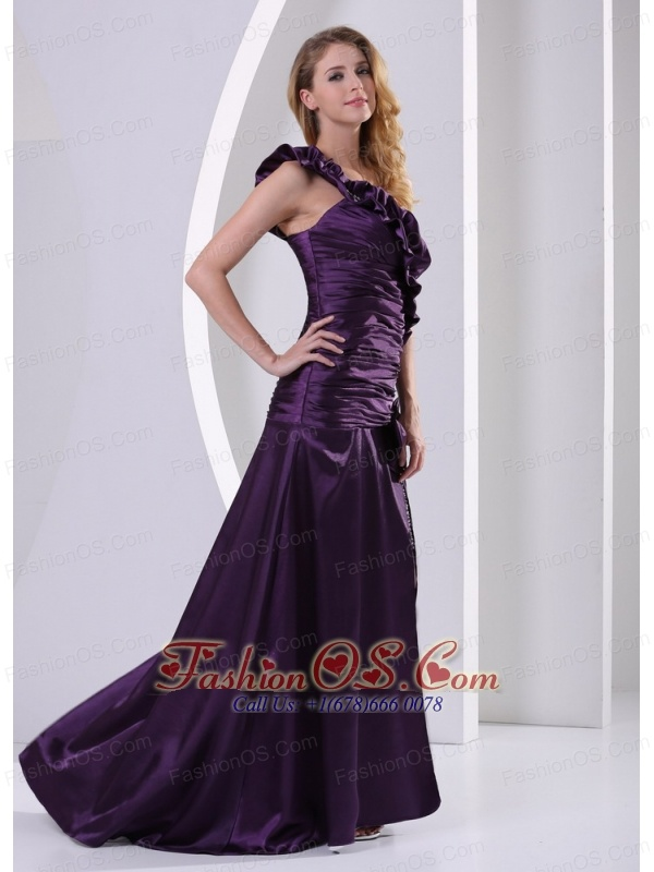 Dark Purple High Slit One Shoulder Ruched Bodice and Bead Decorate Celebrity Dress Party Style