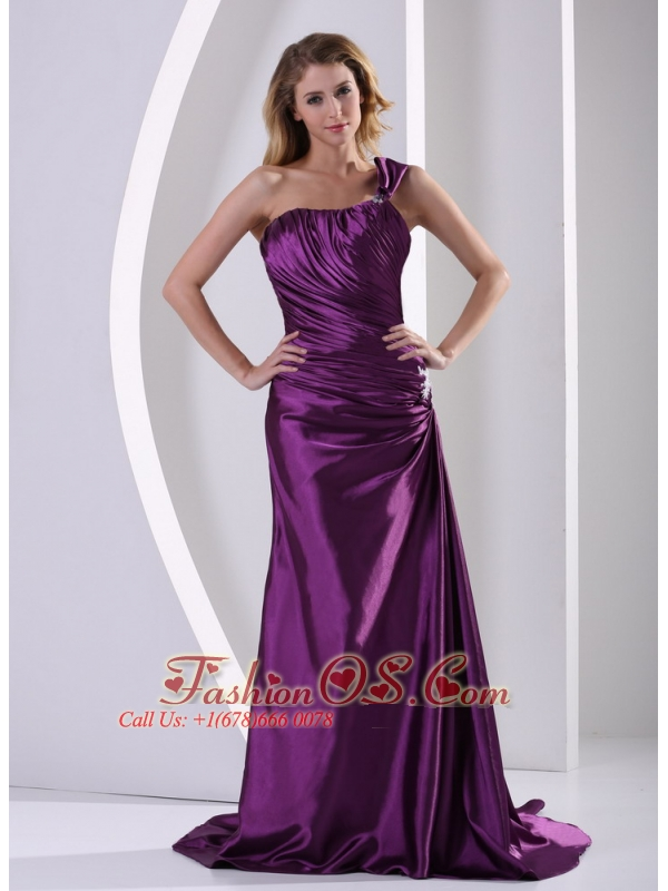 Eggplant Purple One Shoulder Mother Of The Bride Dress With Ruch and Appliques Court Train Elastic Woven Satin