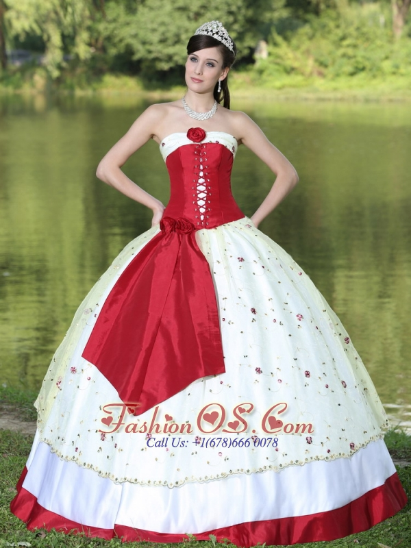 Flower Decorate Strapless Neckline Colorful Quinceanera Dress In New York