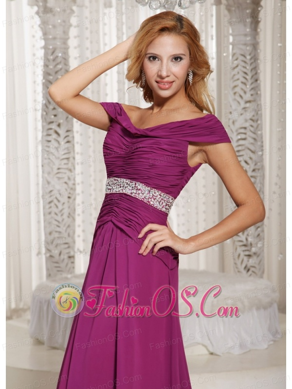 Fuchsia Off The Shoulder Ruched Bodice and Beading Customize Mother Of The Bride Dress For Spring