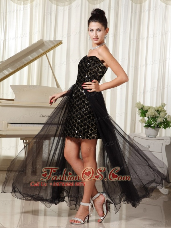 High-low Custom Made Evening Dress   Column Tulle Black With Special Fabric