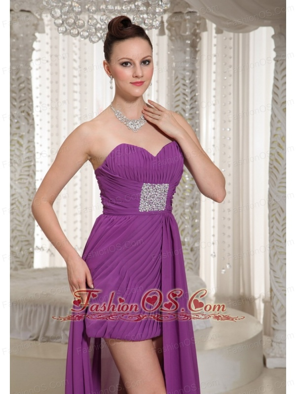 High-low Ruched Bodice Sweetheart Chiffon Homecoming Dress With Beading