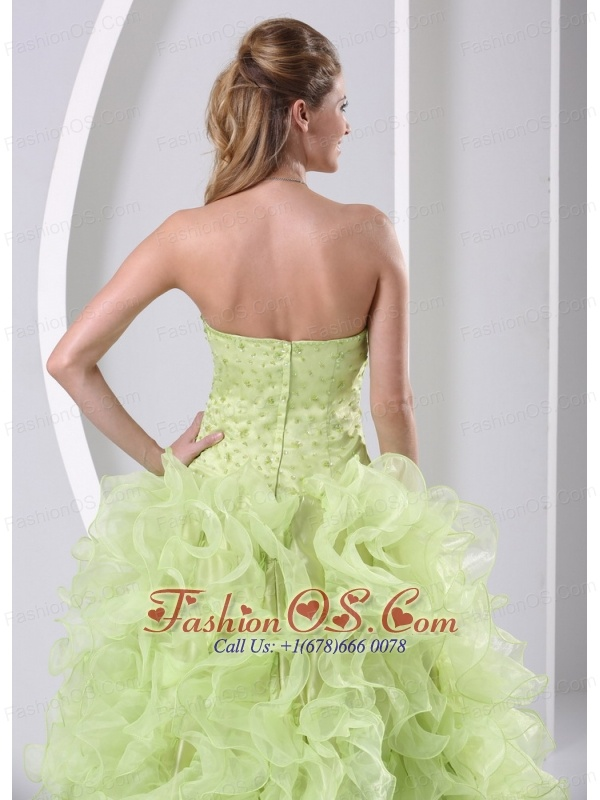 High Slit Beaded and Ruffled Yellow Green Brush Train Dama Dresses for Quinceanera Satin and Organza