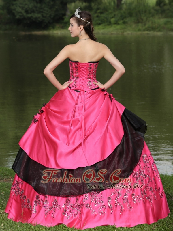 Hot Pink For 2013 Quinceanera Dress Hand Made Flowers With Emdroidery