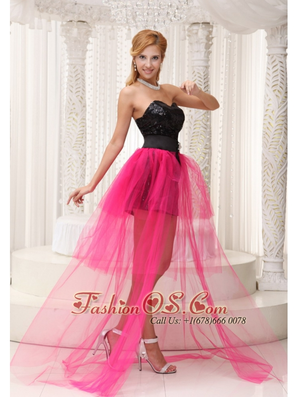 Hot Pink High-low Celebrity Dress For 2013 Black Paillette Over Skirt With Beading