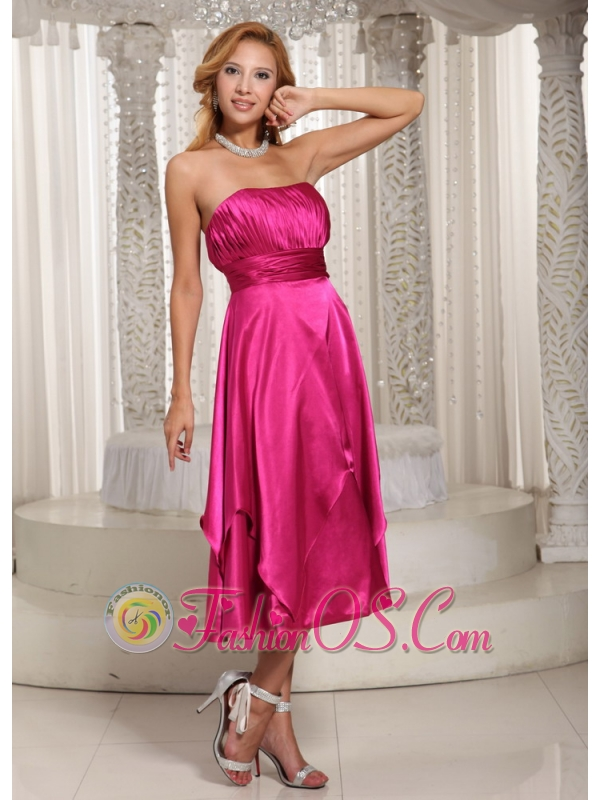 Hot Pink Ruched Bodice Tea-length Simple Mother Of The Bride Dress ...