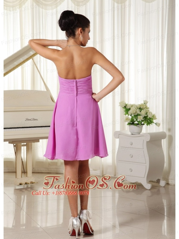 Lavender Sweetheart Ruched Bodice Chiffon For 2013 Cusomize Homecoming Dress