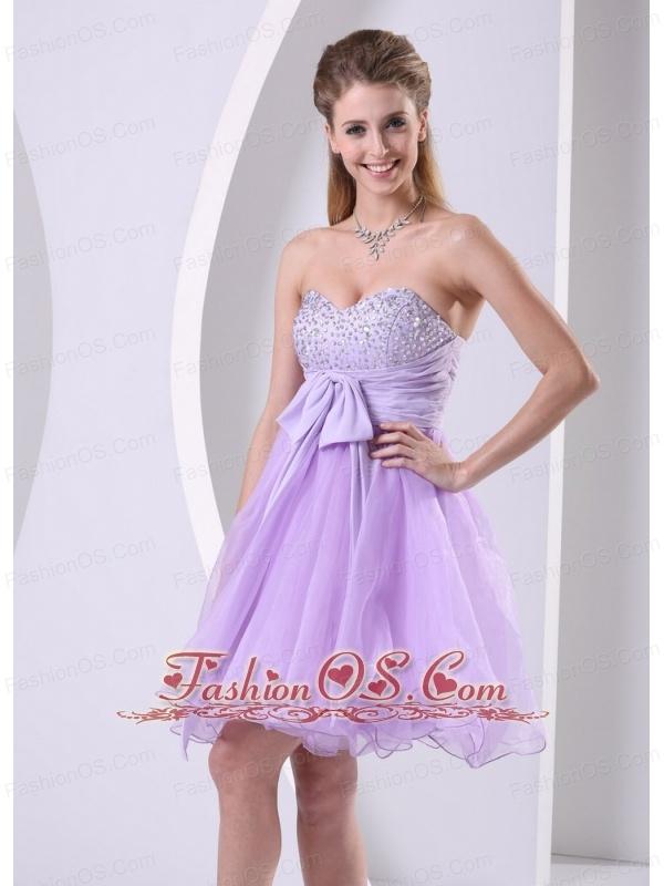 Lilac Sweetheart Beaded Chiffon Sash Short Dress For  Prom / Cocktail Knee-length Organza