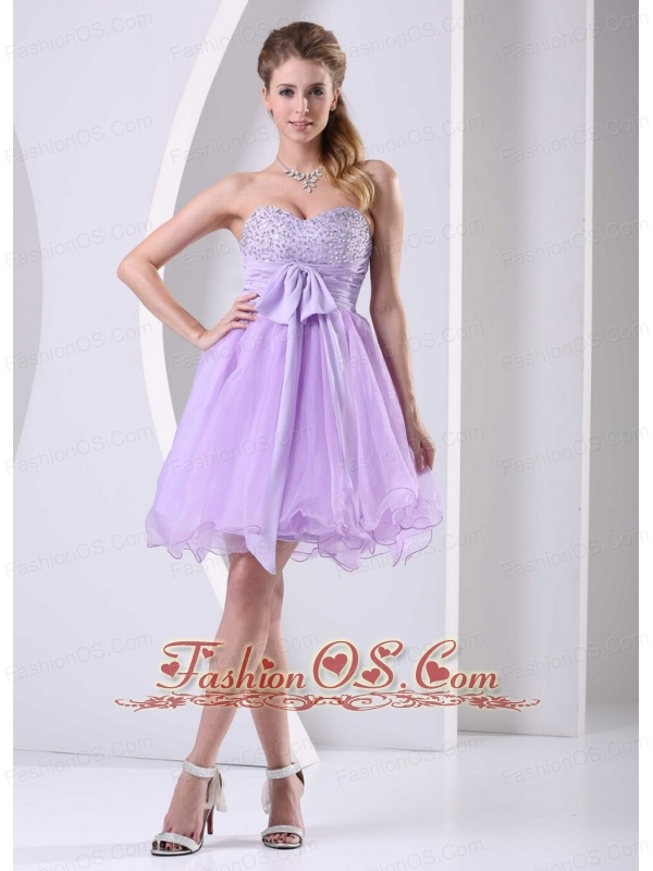 Lilac Sweetheart Beaded Chiffon Sash Short Dress For Prom / Cocktail ...