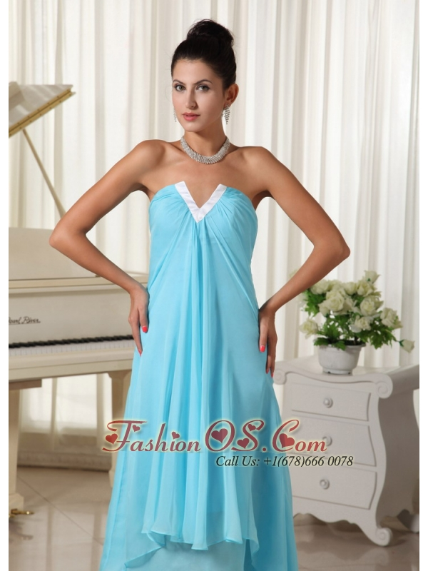 Lovely Natural Waist Chiffon and Baby Blue High-low For 2013 Homecoming Dress