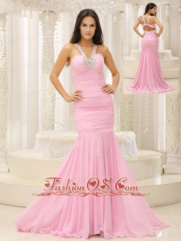 Mermaid V-neck Beaded Decorate Shoulder Ruched Bodice For Romantic Celebrity Dress