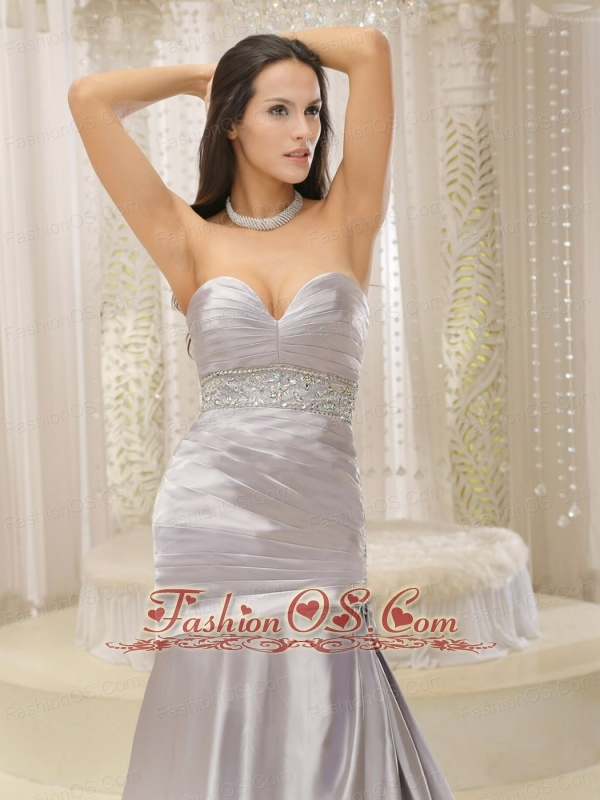 Modest Satin and Ruched Bodice Beaded Decorate Waist For Mother Of The Bride Dress