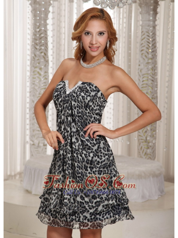 Multi-color Leopard A-line V-neck Mini-length Customize Homecoming Dress For Summer