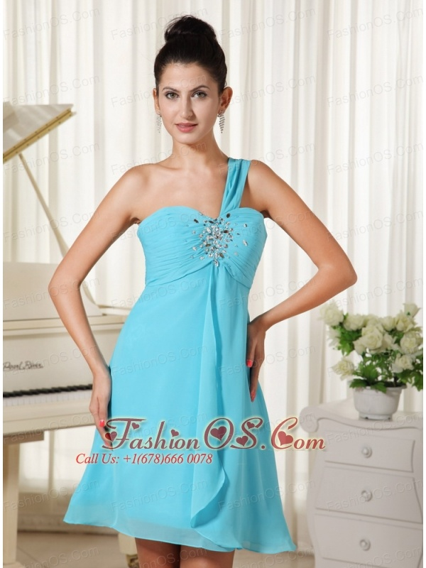 One Shoulder Beaded Decorate Bust Chiffon For Homecoming Dress In Oklahoma