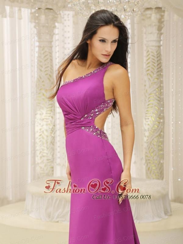 One Shoulder Beaded Decorate Waist Brush Train Chiffon Fuchsia For Evening Dress