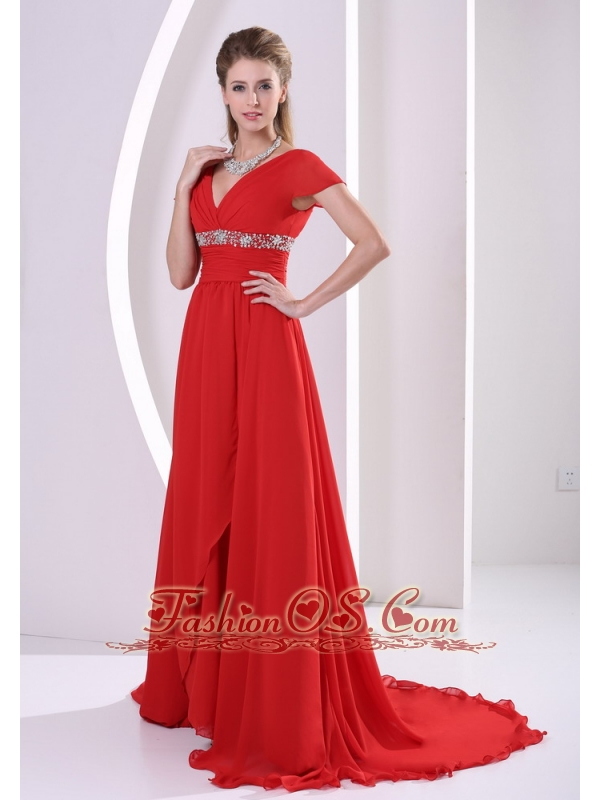 Red Beaded A-line V-neck Chiffon 2013 Mother Of The Bride Dress With Cap Sleeves Court Train
