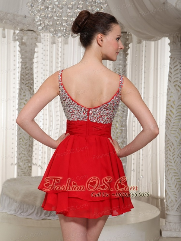 Red Chiffon Spaghetti Straps Beaded Bodice Mini-length Cocktail Dress