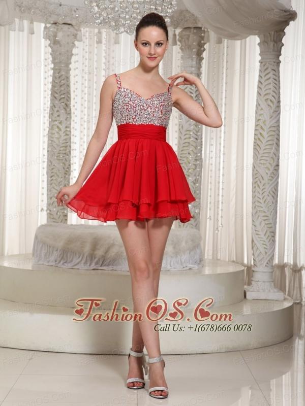 Red Chiffon Spaghetti Straps Beaded Bodice Mini-length Cocktail Dress