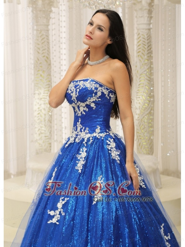 Royal Blue A-line Quinceanera Dress With Appliques Paillette Over Skirt Tulle In New Jersey