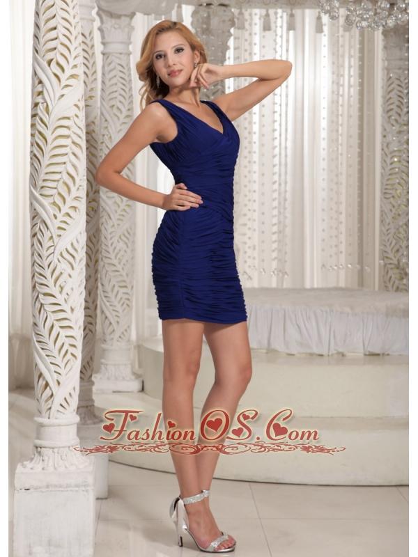 Royal Blue V-neck Sheath Mini-length Ruch 2012 Prom Homecoming Dress