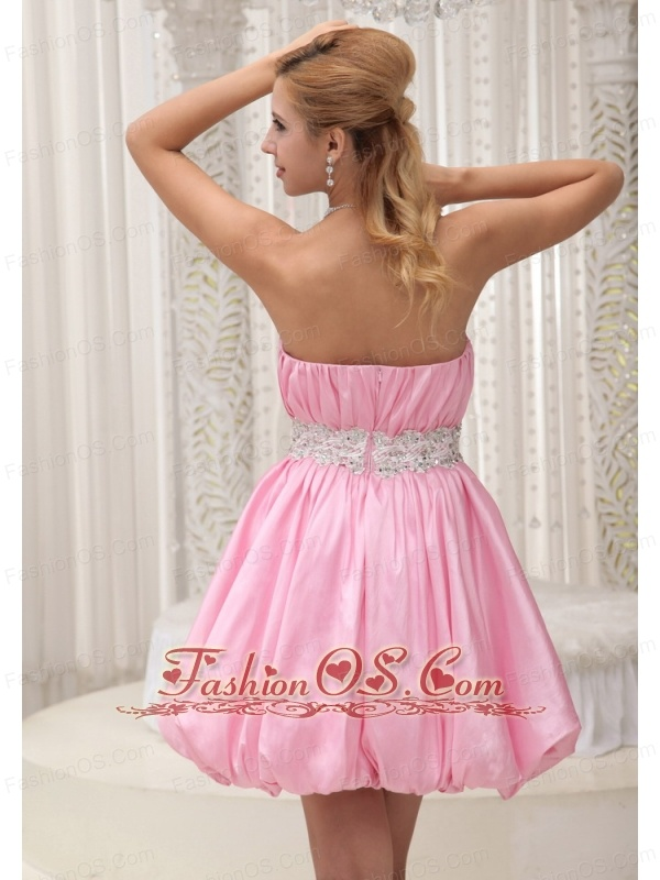 Ruched Bodice Sash With Beading Lovely Homecoming / Cocktail Dress For Formal Evening Pink Taffeta and Mini-length