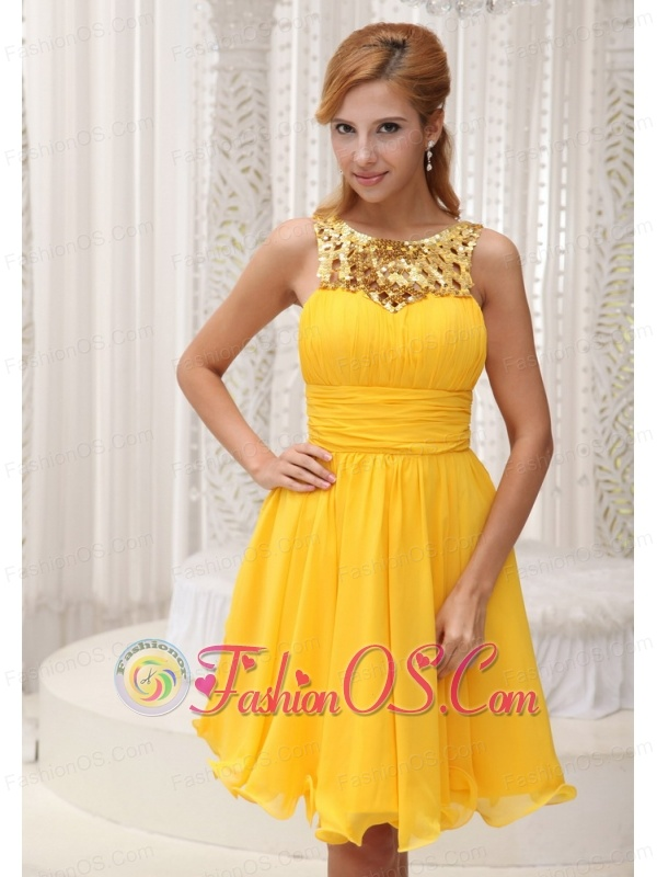 Ruched Bodice Sequin and Chiffon Custom Made 2013 Homecoming / Cocktail Dress For Formal Evening