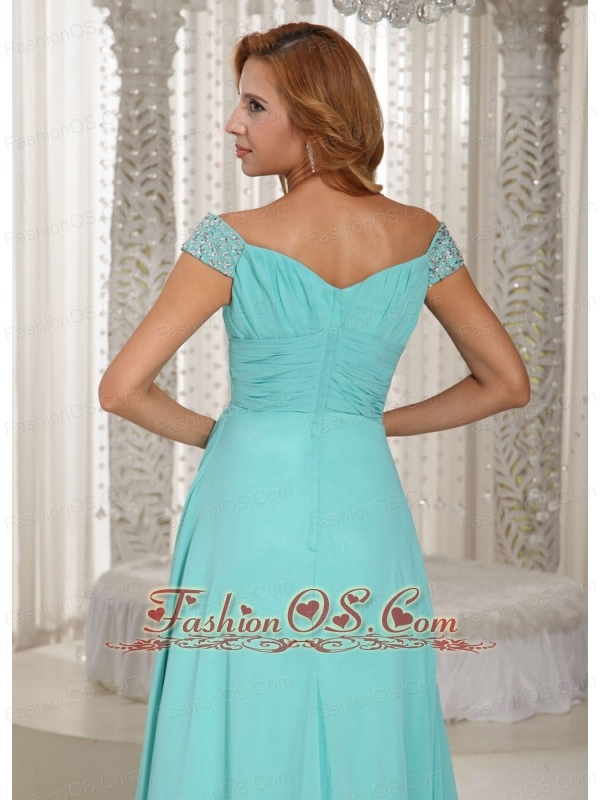 Simple Aqua Blue Off The Shoulder Ruched Bodice Customize Mother Of The Bride Dress With Beading Chiffon 2013