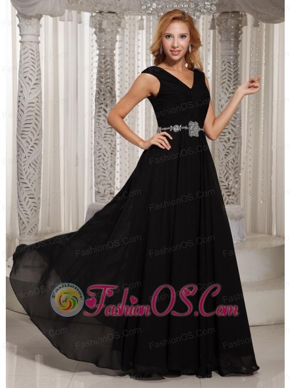 Simple V-neck Black Floor-length Belt 2013 Mother Of The Bride Dress For Wedding Party