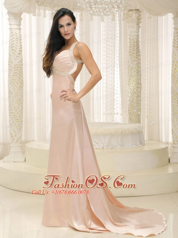 Straps Baby Pink Elastic Woven Satin Ruched  Bodice For Evening Dress Custom Made