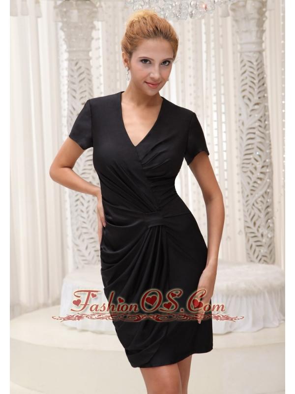 V-neck Black Short Sleeves Mother Of The Bride Dress For 2013 Mini-length