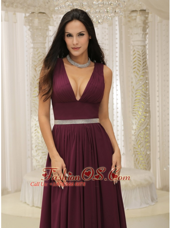 V-neck Burgundy Brush Train For Mother Of The Bride Dress Belt Customize In Montana