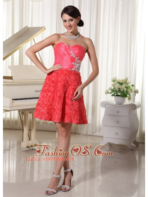 Watermelon Red Prom / Cocktail Dress Sweetheart Appliques With Beading Fabric With Rolling Flower Mini-length
