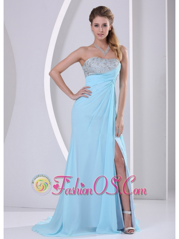 Wholesale Aqua Blue High Slit Beading and Ruch 2013 Celebrity Dress Party Style