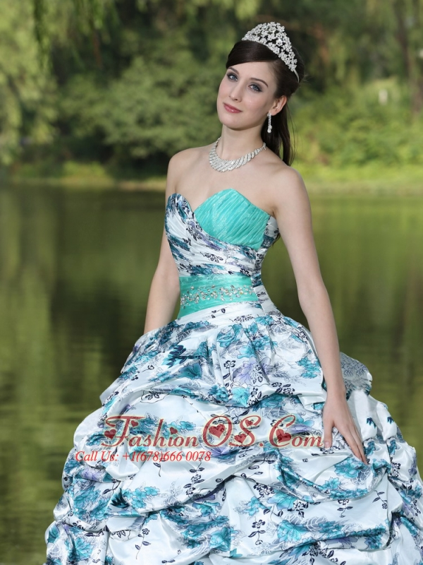 Colorful Printing and Organza Beaded Decorate Waist Pick-ups and Ruffles Brush Train Lovely Style For 2013 Quinceanera Dress