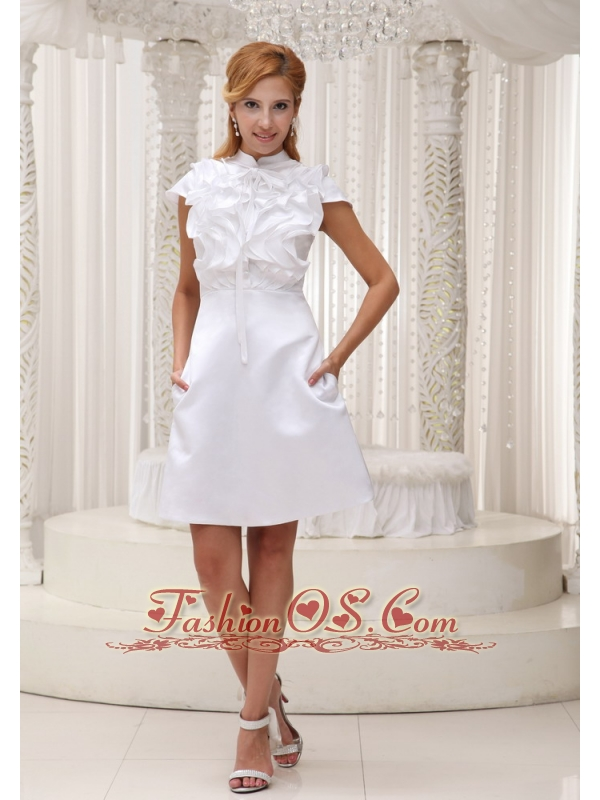 High-neck White Ruffled Decorate Bust Taffeta and Mini-length Mother Of The Bride Dress Dress For 2013