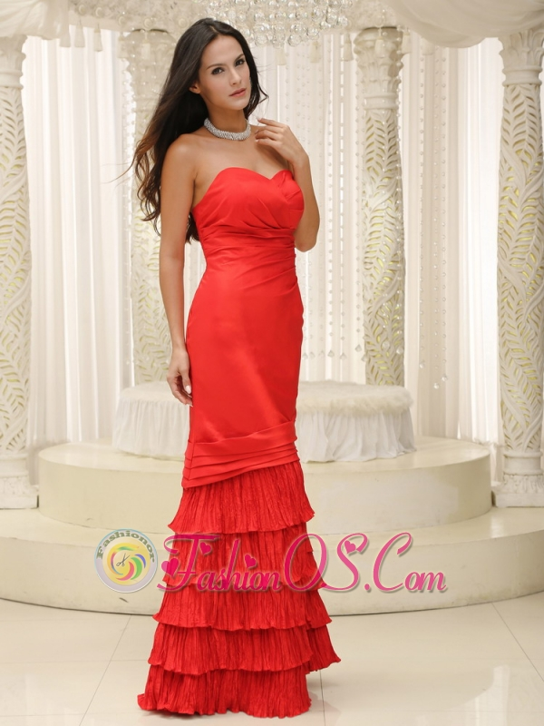 Red and Ruffled Layers Mother Of The Bride Dress Floor-length Sweetheart
