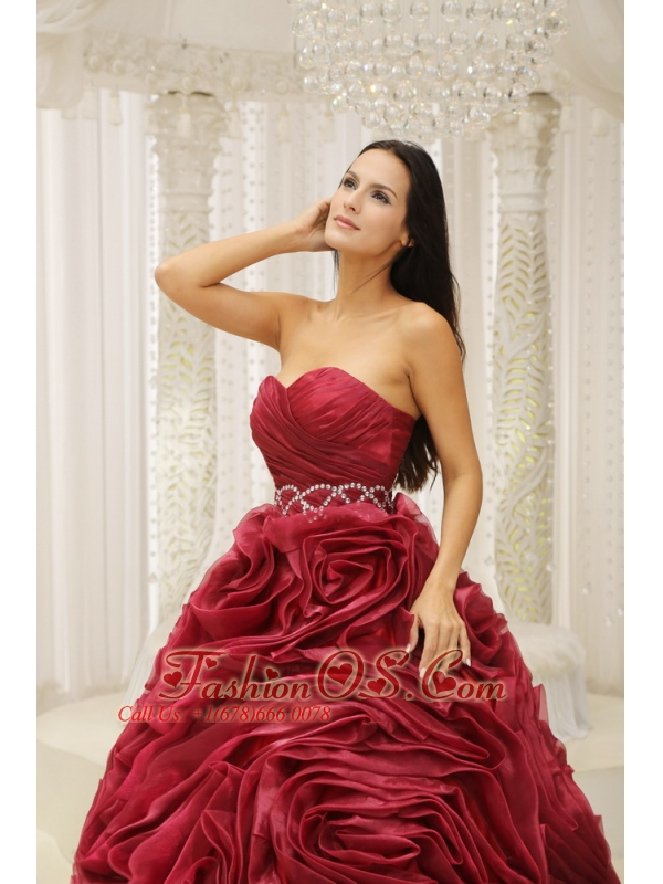 Wine Red Sweetheart Neckline Beaded Decorate Waist Hand Made Flower A-line 2013 Quinceanera Dress For Formal Evening