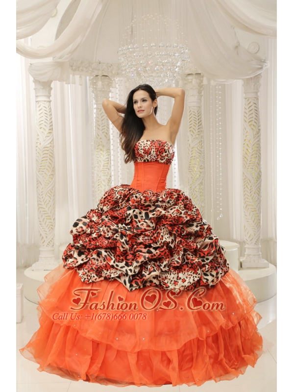 Organza Leopard Quinceanera Dress With Beaded Decorate