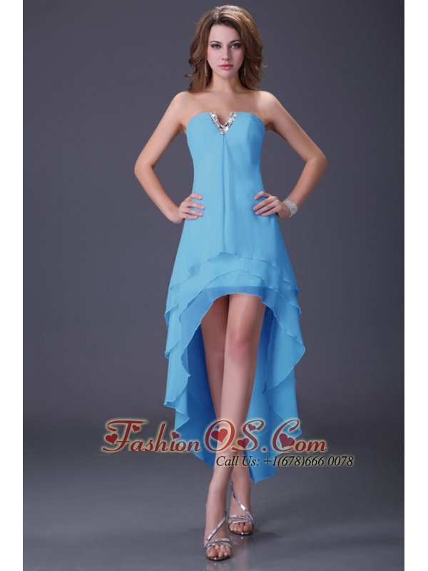 Clearance High Low Three Layers Chiffon Prom Dress under 100 Dollars