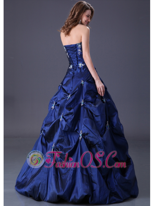 Popular Navy Blue Taffeta Prom Dresses with Pick-ups Skirt and Lace Up Back